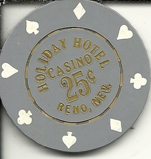 ($.25 Holiday hotel casino chip Reno, Nevada vintage obsolete)