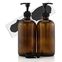 16-Ounce Amber Glass Bottles w/Pump Dispensers (2-Pack); Refillable Lotion Liquid Soap Pump Brown Bottles + Chalk Labels…
