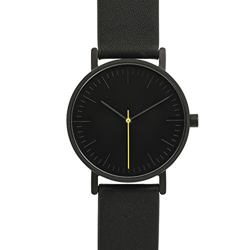 BIJOUONE B001 Minimalist Modern Black Dial Stainless Steel Swiss Quartz Analog Unisex Watch, Matte Black Case