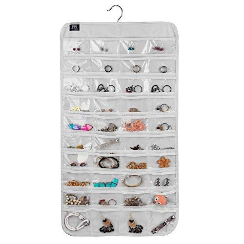 BB Brotrade Hanging Jewelry Organizer,Accessories Organizer,80 Pocket Organizer for Holding Jewelries (White)