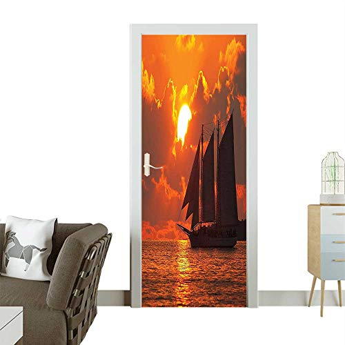 Homesonne 3D Door Decals Boat Sailing in Fr in Key Florida Sundown Tropical Self Adhesive Door DecalW38.5 x H79 INCH ()