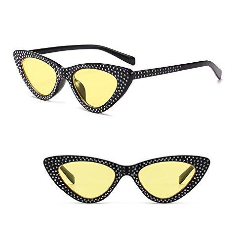 jaune Triangle Femmes Chat Soleil cadre Kindoyo Œil Mode lentille Noir Uv400 De Classique Rétro Lunettes 8XCCOwqx