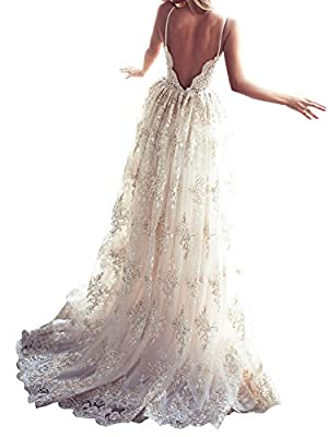 Mella 2017 Women's Double V-Neck Spaghetti straps Lace Applique Empire Chapel Train Bridal Gown with Veil