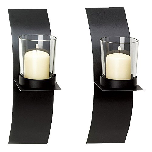 Adorox (Set of Two) Black Metal Wall Sconce Candle Holder Modern Minimalist Art (Wall Sconce Candle Holder)
