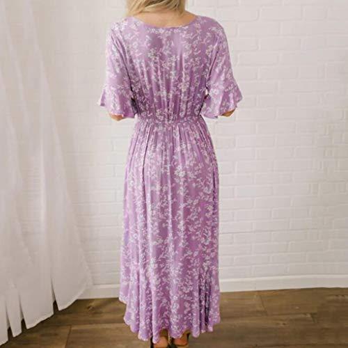 Women's Purple Flare Ruffle Short Sleeve High Split Irregular Hem V Neck Maxi Dress by ★ZFK_DRESS (Image #2)