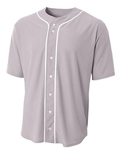 A4 N4184 Short Sleeve Full Button Baseball Jersey, Gray, Small ()