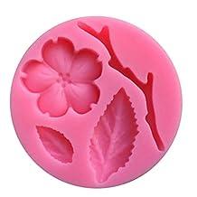 MonkeyJack Pink Silicone 3D Peach Blossom Flower Shape Cake Mould Fondant Decorating Jelly Craft Tool 5.6x1cm