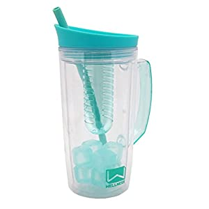 Wellness MINT 34 oz Double Wall Fruit Infuser Sports Bottle w/ Reusable Ice Cubes, Straw, and Carrying Handle - BPA Free & Eco Friendly - Pitcher Style - Perfect for Work, School, Gym, and Travel …