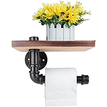Industrial Toilet Paper Holder with Wooden Shelf Metal Wall Storage Missingift Iron Pipe Tissue Roll Hanger