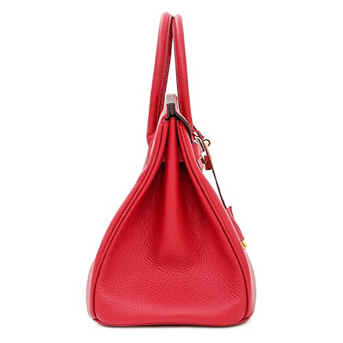 Handle Handbag SanMario Golden Bag Hardware Women's Top Red Solid Leather Designer Padlock with Cqt5tZ1w