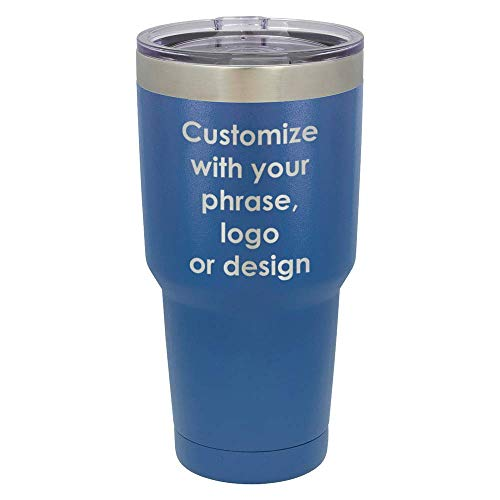 Personalized Blue 30 oz Tumbler With Spill Proof Lid and Straw   Custom Phrase, Logo, Bible Verse or Design   Insulated Travel Mug   Compare To Yeti Rambler   OnlyGifts.com