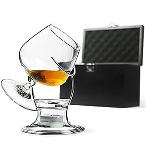 Bar@drinkstuff - Lote calentador de coñac o brandy (incluye vaso para brandy, soporte para calentar el brandy, vela de té y soporte para vela y copa de balón)