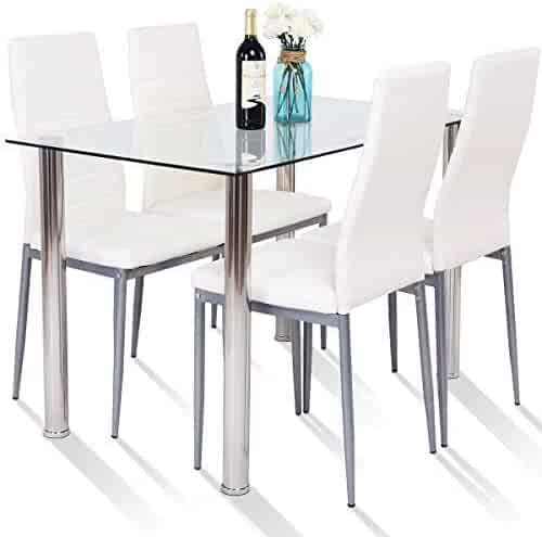 e416ab150a867 Tangkula 5 PCS Dining Table Set Modern Tempered Glass Top and PVC Leather  Chair w