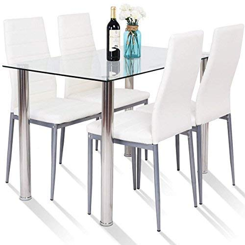 Tangkula 5 PCS Dining Table Set Modern Tempered Glass Top and PVC Leather Chair w/4 Chairs Dining Room Kitchen Furniture (White and ()