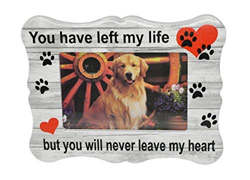 Home-X Paw Print Memorial Ceramic Picture Frame   Pet Sympathy Gift   in Memory of a Dog or Cat