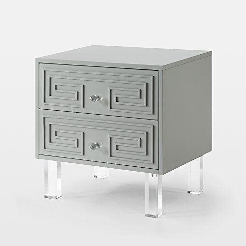 Inspired Home Aristotle Light Grey Glossy Nightstand – Lacquer Finish Side Table Acrylic Lucite Legs