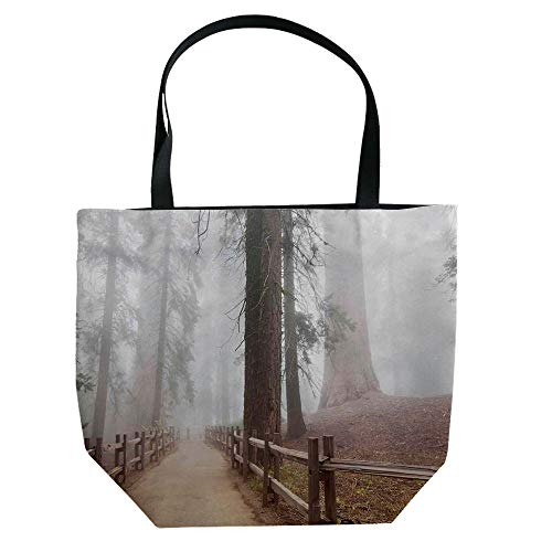 iPrint Handbag Canvas Shoulder Bag Leisure Fashion,Yosemite,Evergreen Forest