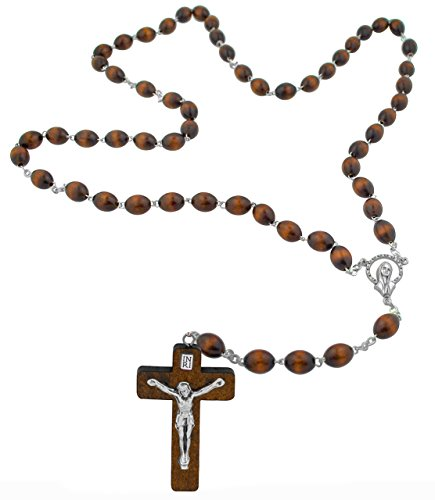 Italian Wood Bead Rosary with Wood (Rosary Wood Crucifix)