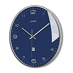 LANGPIN Silent & Non Ticking Modern Quartz Wall Clock 14- Battery Operated Digital Quiet Sweep Office Decor Clocks,Chrome Coated Metal Frame Glass Cover 906-3
