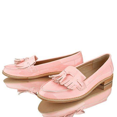 Mujer Chica Office con Flecos Mocasines Planos Casual Zapatos Colegio Talla - Rosa, 23 EU: Amazon.es: Zapatos y complementos