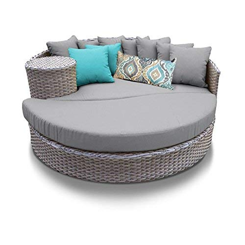 TK Classics Oasis Outdoor Wicker Patio Circular Sun Bed Furniture, Grey ()