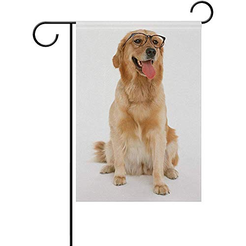 AnleyGardeflagsU Golden Retriever with Glasses Polyester Garden Flag Banner 12 x 18 Inch for Outdoor Home Garden Flower Pot ()