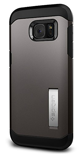Spigen Tough Armor Galaxy S7 Edge Case with Kickstand and Extreme Heavy Duty Protection and Air Cushion Technology for Samsung Galaxy S7 Edge 2016 - Gunmetal - Kickstand Wrap Case