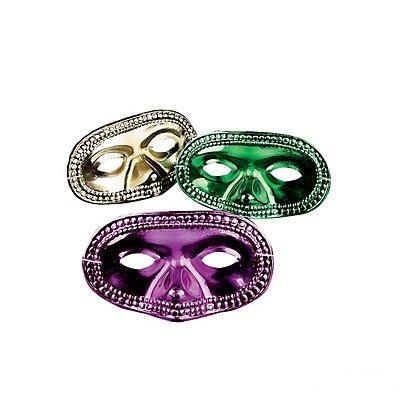 Metallic Mardi Gras Half Masks 48 -
