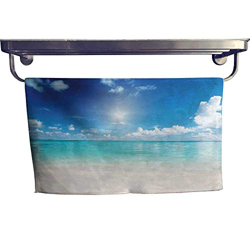 Ocean Extra Wide Bathroom Accessories Sky and Sea Landscape Golden Sand Tropical Beach Clouds Sun Hot Heaven Luxury Hand Towels Set W 12