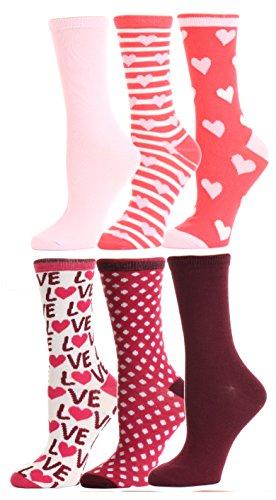 Valentine's Day Soft Crew Socks XOXO Kiss Hug Love Prints, Women's Size...
