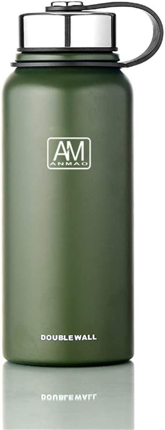 Stainless Steel Water Bottle with Wide Mouth Lids (34oz) - Keeps Liquids Hot or Cold with Double Wall Vacuum Insulated Sweat Proof Sport Design (Green)