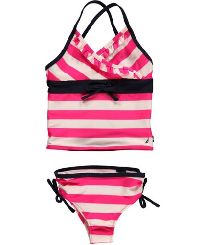 Nautica Girls 2-6X Stripe Tankini, Intense Pink, 6x