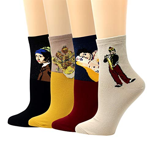 LIVEBEAR 4 Pairs Women's Made In Korea Cute Novelty Famous Paintings Art Statues Light-Tones Casual Cotton Crew Socks