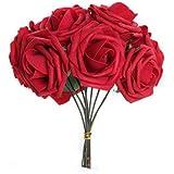 Facilla® - Ramo de rosas artificiales (10 rosas), color rojo