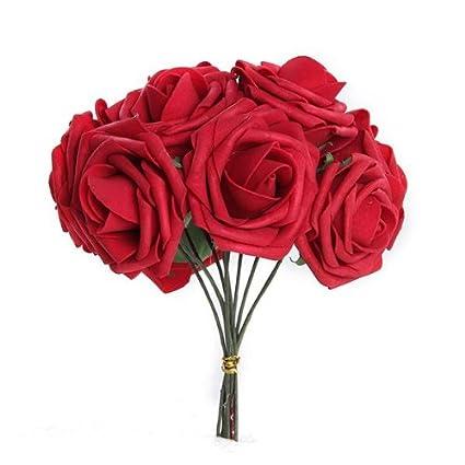 Facilla Bouquet 10pcs Fleur Artificiel Roses En Mousse Rouge Deco