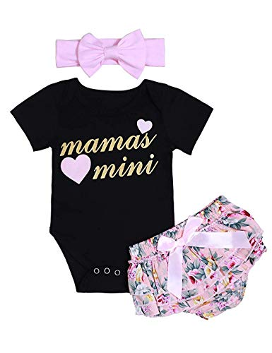 (Moolia Baby Girl Word Print Romper Floral Shorts Headband 3Pcs Outfit Clothes Sets (70(0-6M), Black))