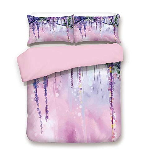 Pink Duvet Cover Set,Full Size,Wisteria Flowers on Blurred Background with Dreamy Colors,Decorative 3 Piece Bedding Set with 2 Pillow Sham,Best Gift for Girls Women,Purple Light Pink Green
