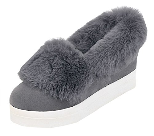 SHOWHOW Womens Simple Round Toe Fluffy Fur Faux Fur Lined Slip On Pumps Gray tgRr8tW3ow