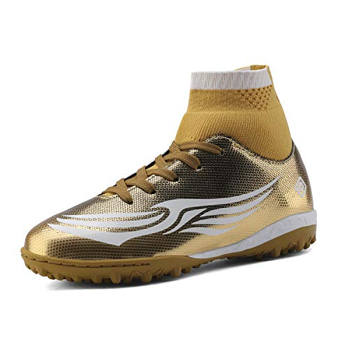 DREAM PAIRS Boys Girls Turf Outdoor/Indoor Soccer Football Cleats Shoes Gold White Size 1 M US Little Kid HZ19008K (Indoor Soccer Shoes For Youth)