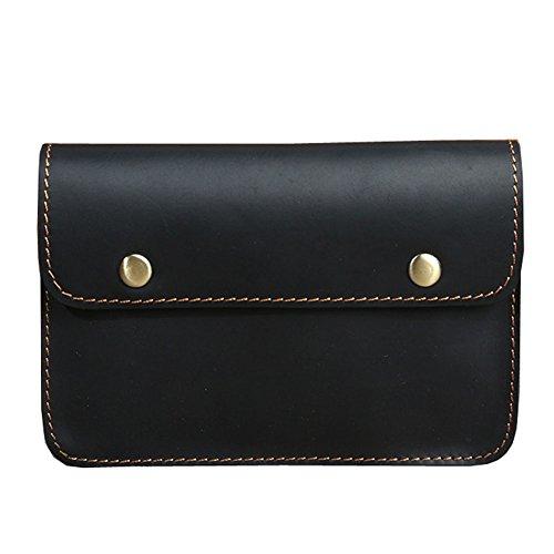 Boleke Mens Genuine Leather Small Hook Fanny Waist Bag Hip Bum Pack Cigaretee Pouch (M2086 Black)