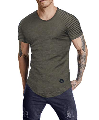 Nicetage Pleated Sleeve T-Shirt Round Neck Shirt Solid Color Raglan Short-Sleeved Tee (HS170New-151 Gray S) from Nicetage