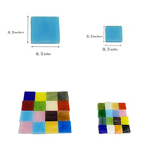 "Mosaic Tiles Pieces Assortment, Square 0.3"" by 0.3"", Stained Glass for Art Crafts, 9oz Value Pack"