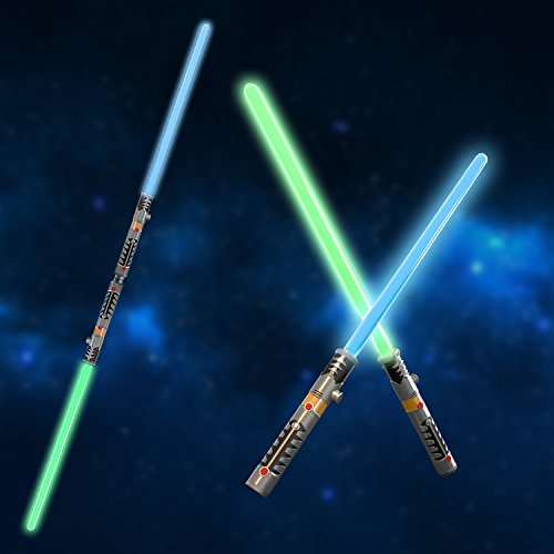 Laser Sword Double Light Saber Star War LED Lightsaber Fighters Galaxy Warriors, 2 in 1, Special Party Favor Set for Birthday, Halloween, Christmas with Light and Sound Effect