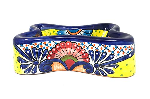 Mexican Talavera Pottery 11 inch Bone Shape Hand Painted Large Dog Bowl