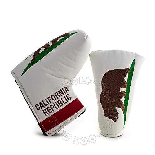 19th Hole Custom Shop California Golf Headcover for Blade and Midsize Mallet Putter, White, Head Cover