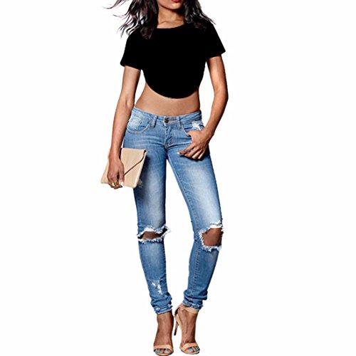 Sexy Femmes Solid Couleur Manches Courtes Col Rond Court Ventre Hauts T-Shirt Blouse