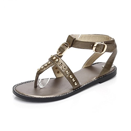 Toe Cow Low Sandals Split Leather Buckle Womens Gold AmoonyFashion Solid Heels HIxqfREOwn