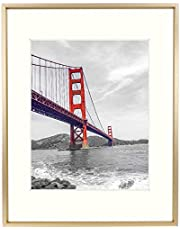 Frametory, 11x14 Aluminum Photo Frame with Ivory Color Mat for 8x10 Picture & Real Glass, Metal Picture Frame Collection