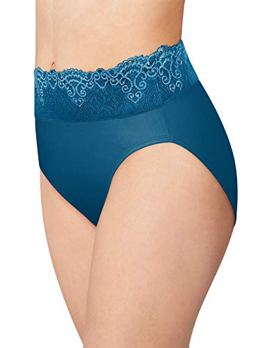 Bali Women's Passion for Comfort Hi-Cut Panty, deep Sapphire Blue, 8