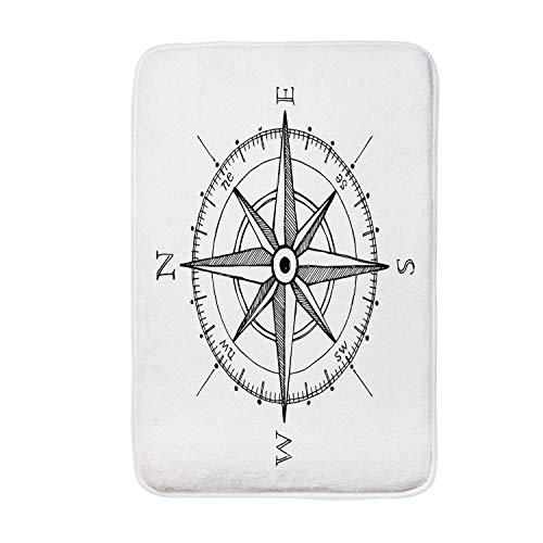 YOLIYANA Compass Soft Door Mat,Hand Drawn Compass Windrose North and South East West Directions Black and White for Living Room,15.7